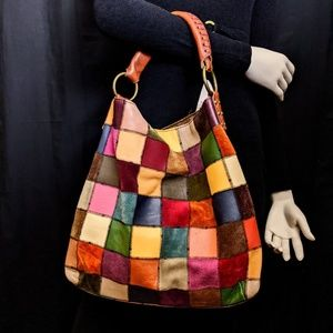 Lucky Brand Suede & Leather Patchwork Hobo Bag